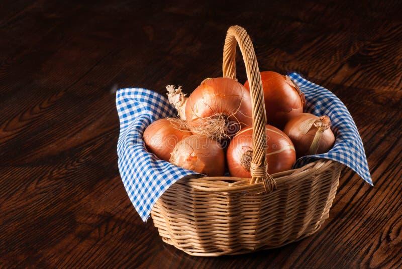 Download Onion basket on table stock image. Image of cloth, horizontal - 28703681