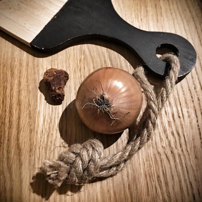 Onion on board royalty free stock photo