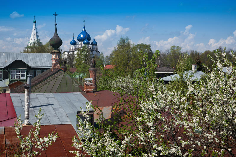 Onion domes of Suzdal royalty free stock image