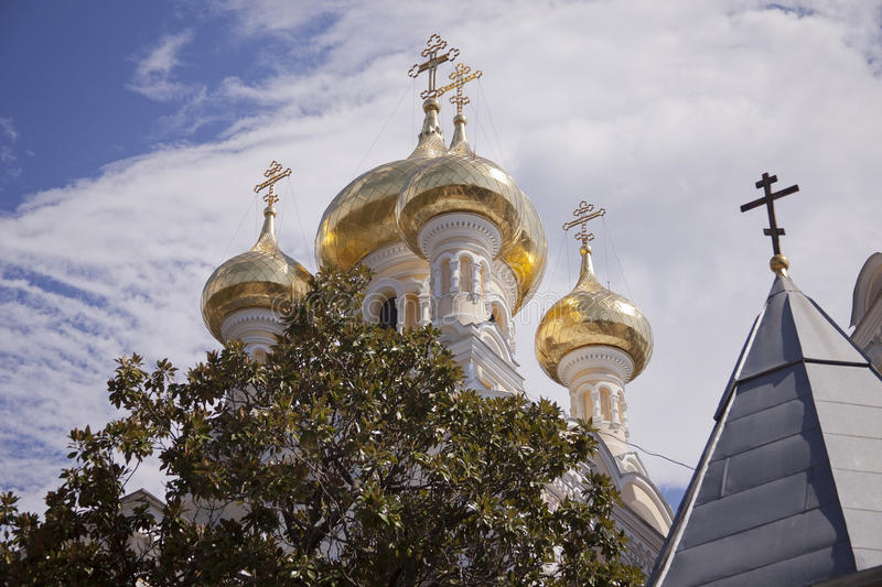 Onion Domes in Yalta, Ukraine. Onion domes on the Alexander Nevsky Cathedral in Yalta, Ukraine. The onion dome is the predominant form for church domes in Russia stock photography
