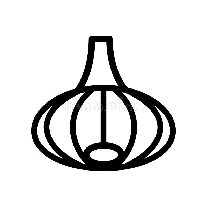 Onion icon in line style. Isolated object. Onion logo. Vegetable from the garden. Organic food. Vector illustration. royalty free illustration