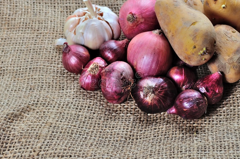 Onion, Potatoes and garlic. On gunny background royalty free stock photos