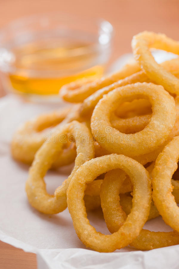 Free Onion Ring With Honey Sauce Royalty Free Stock Photography - 17991307