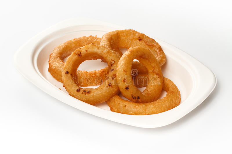 Onion Rings. Fast Food Onion Rings on white background royalty free stock photos