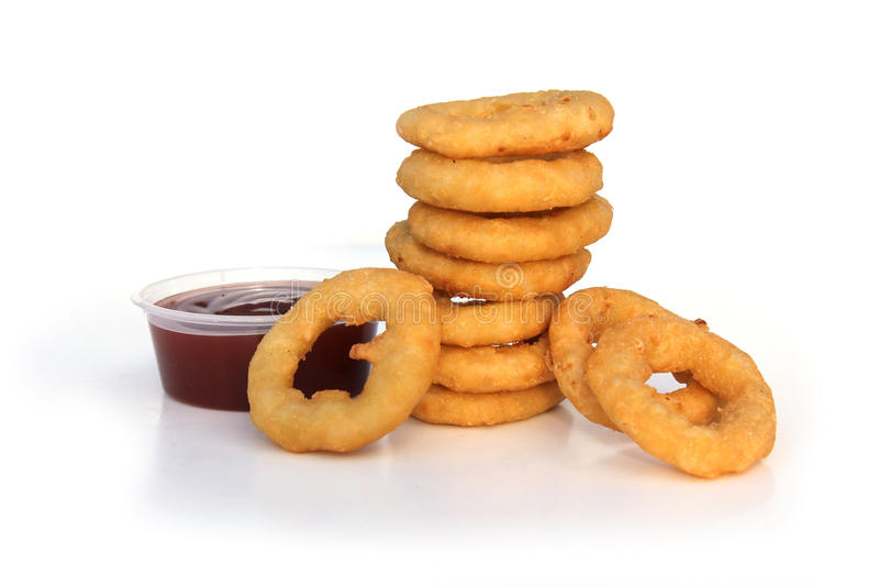 Onion Rings. Fried Onion Rings with sauce stock photography