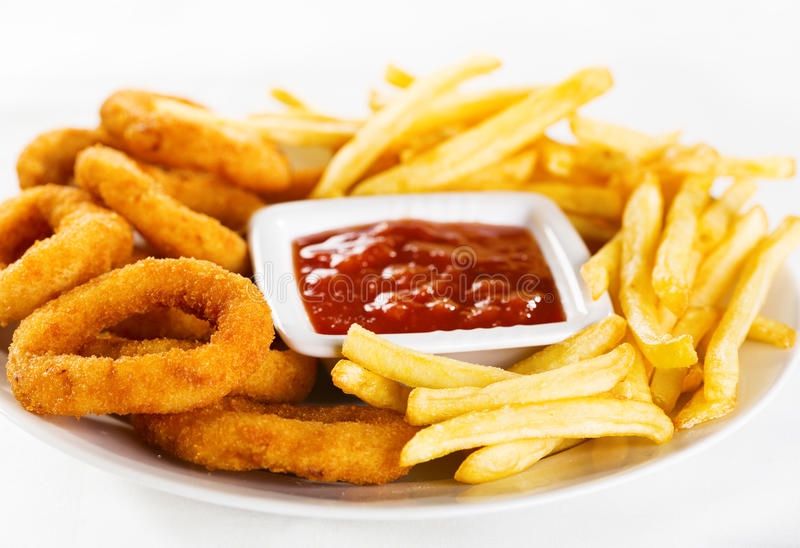 Onion Rings And Fries Royalty Free Stock Images