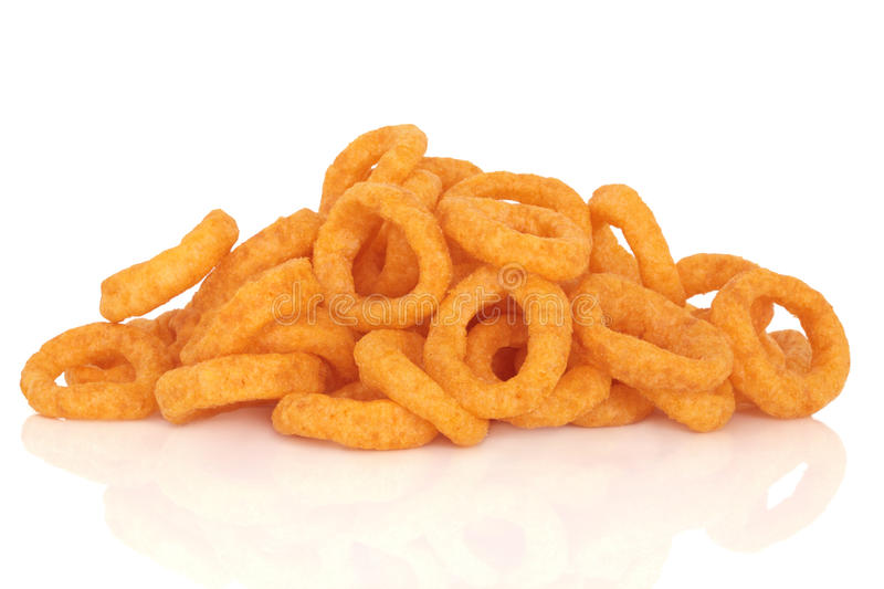 Onion Rings Snack. Onion rings, junk food snack, isolated over white background with reflection stock photo