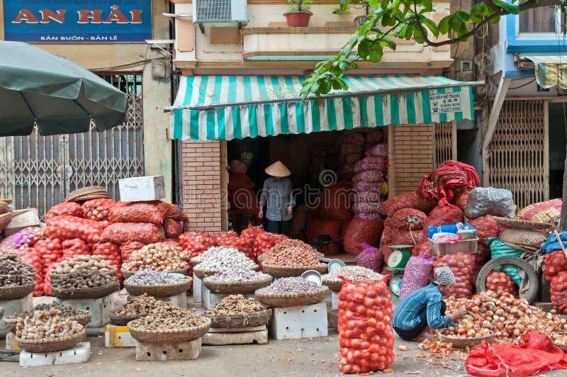 Onion Sellers in Hanoi, Vietnam stock photo
