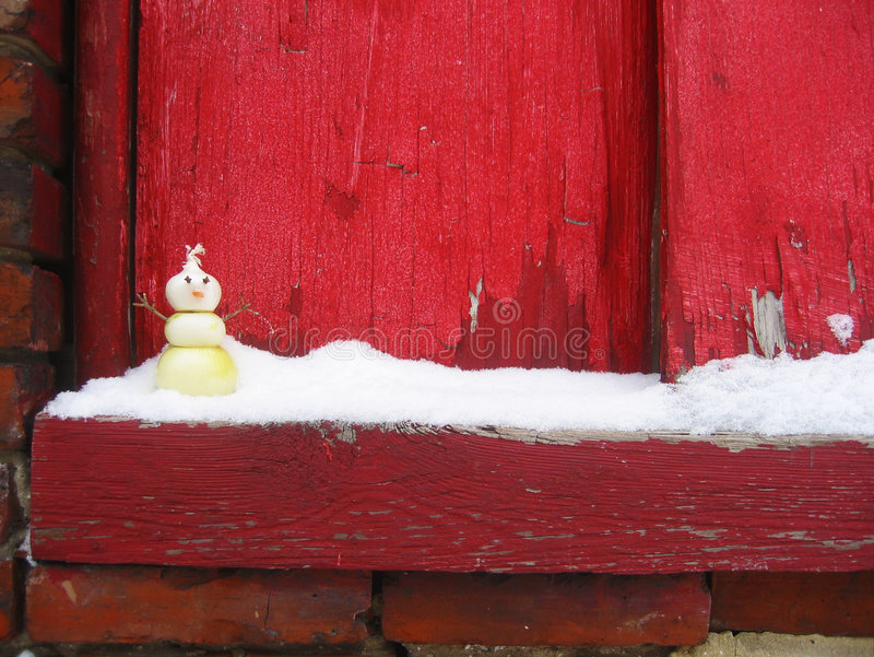 Download Onion Snowman On Snowy Windowsill Stock Image - Image: 380633
