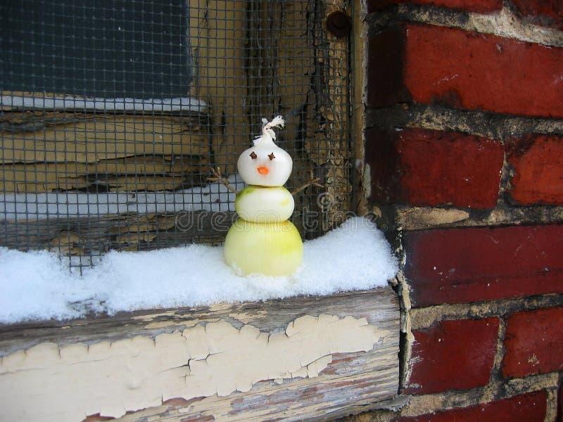 Onion_Snowman_on_Windowsill Royalty-vrije Stock Foto's