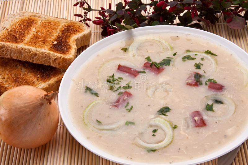 Onion soup. With fried bread and onion on background royalty free stock photo