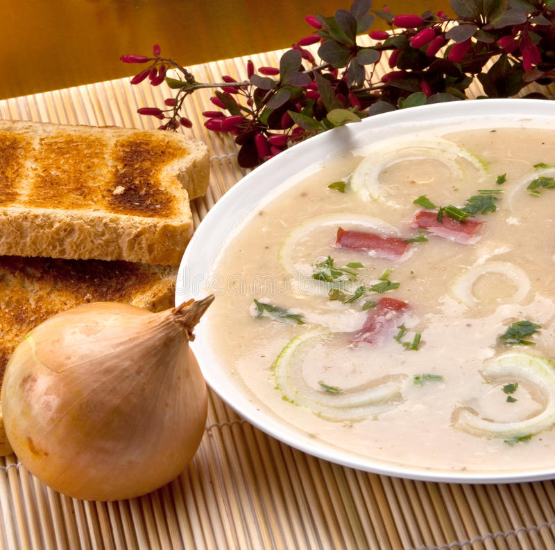 Onion soup. With fried bread and onion on background royalty free stock photos
