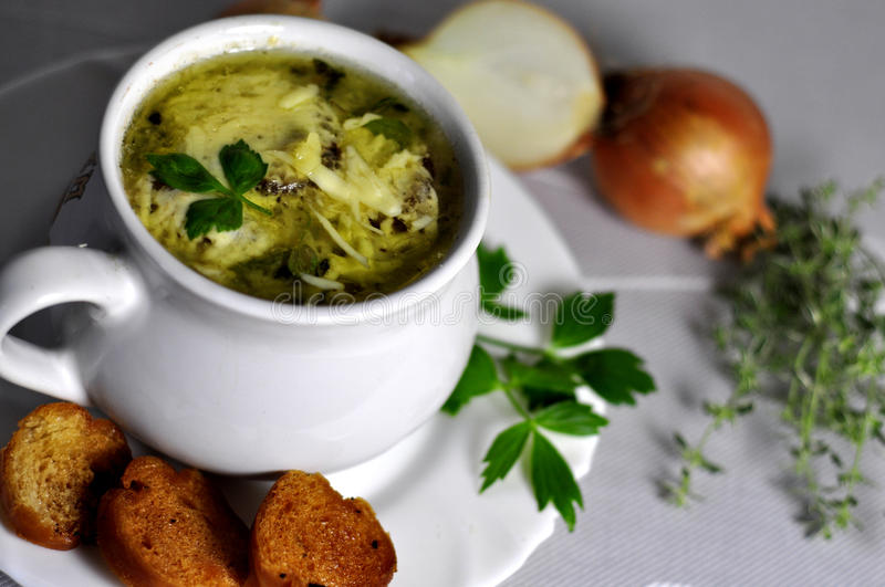 Onion soup royalty free stock photo