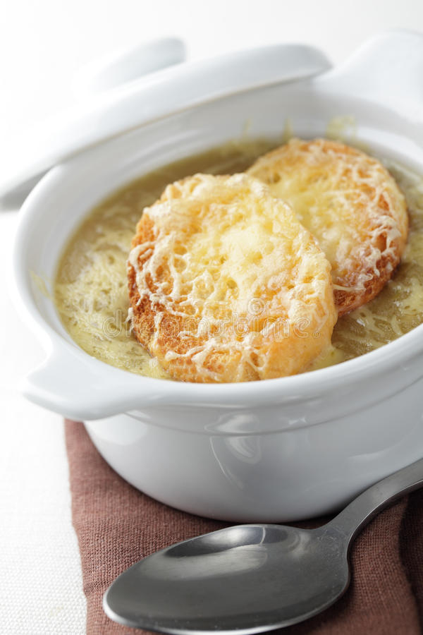 Onion soup. With croutons and cheese stock images