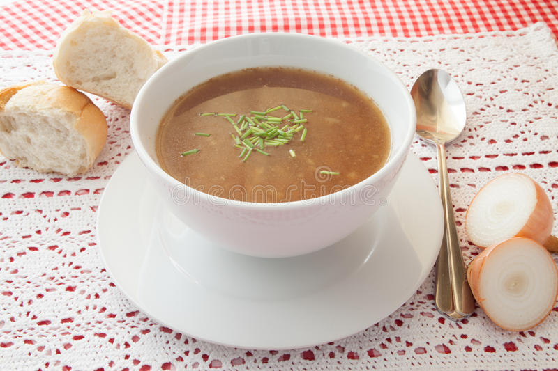Onion soup. French onion soup with bread stock photo