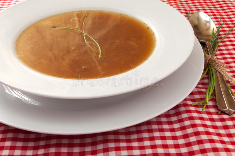 Onion soup. French onion soup with bread stock photography