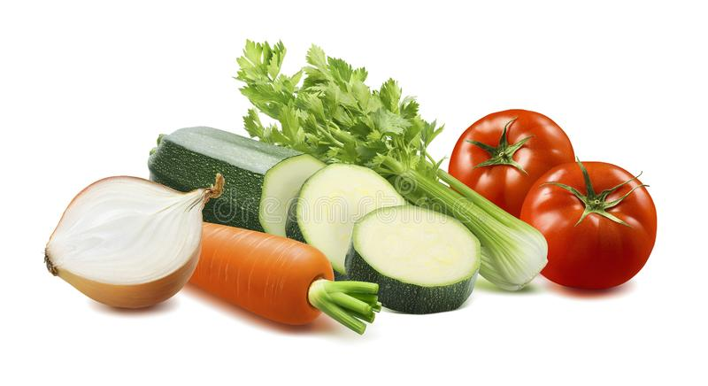 Onion, tomato, celery, carrot and sliced zucchini isolated on white background stock image