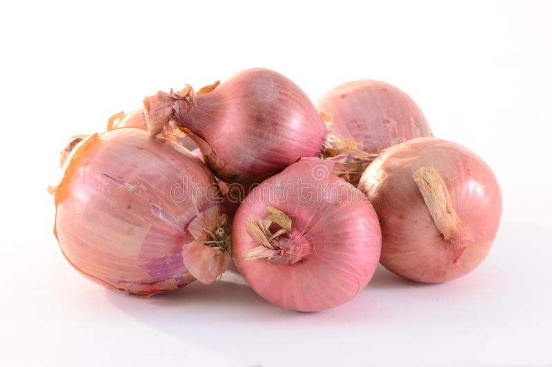 Onions. Stack of onions isolated on white background stock photography