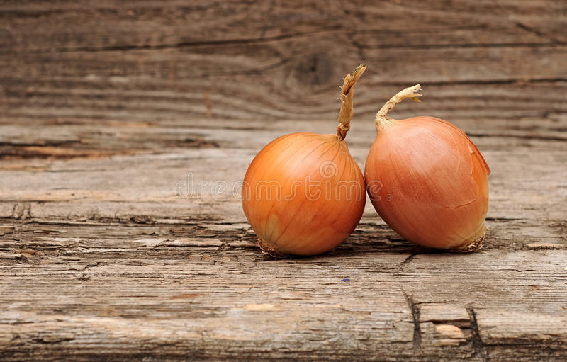 Onions. Ripe onions, wood table background stock image