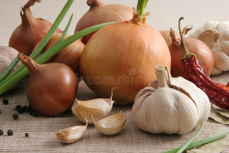 Onions and garlic. stock image