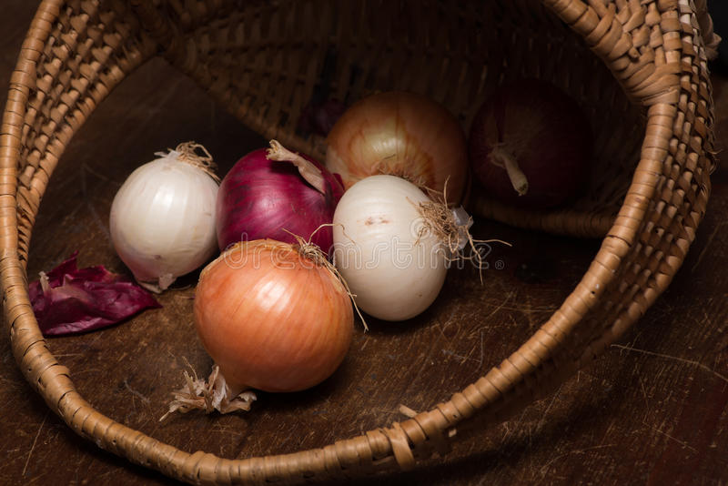 Onions out of a basket royalty free stock photos
