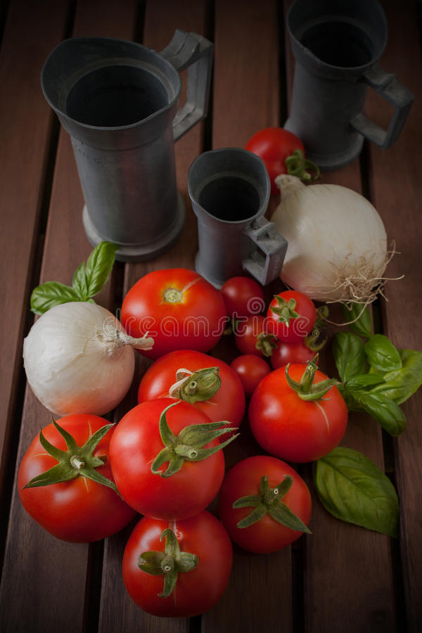 Download Onions And Tomatoes On Wood Table Stock Image - Image: 25631101