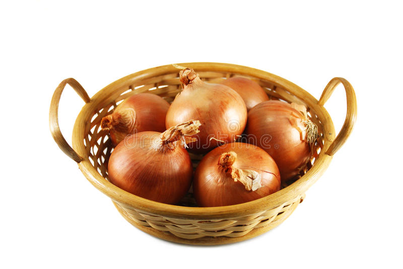 Download Onions in a wicker basket stock image. Image of ingredient - 21818629