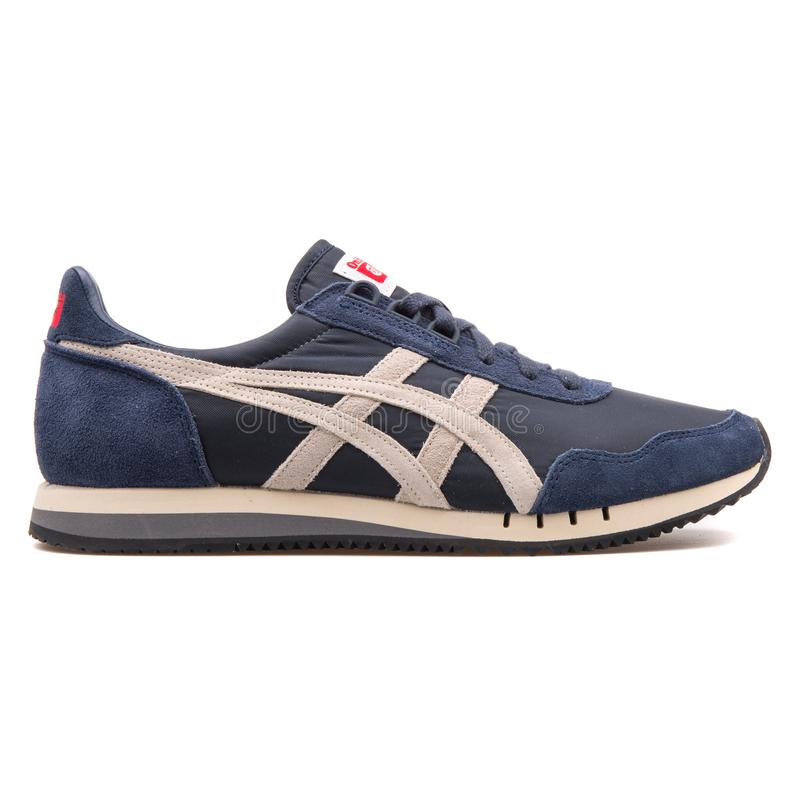 Onitsuka Tiger Dualio indian ink blue and white sneaker royalty free stock image