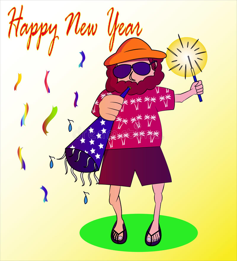 Onkel Jack Happy New Year lizenzfreie abbildung