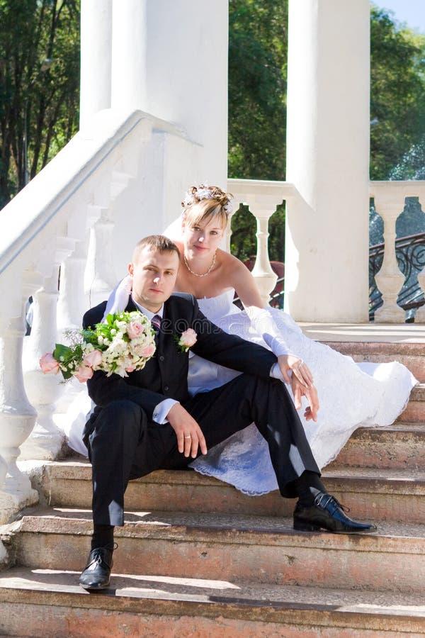 Onlangs Echtpaar In Openlucht Royalty-vrije Stock Afbeeldingen