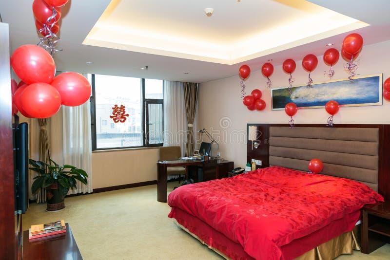 Onlangs-gehuwde slaapkamer royalty-vrije stock foto's