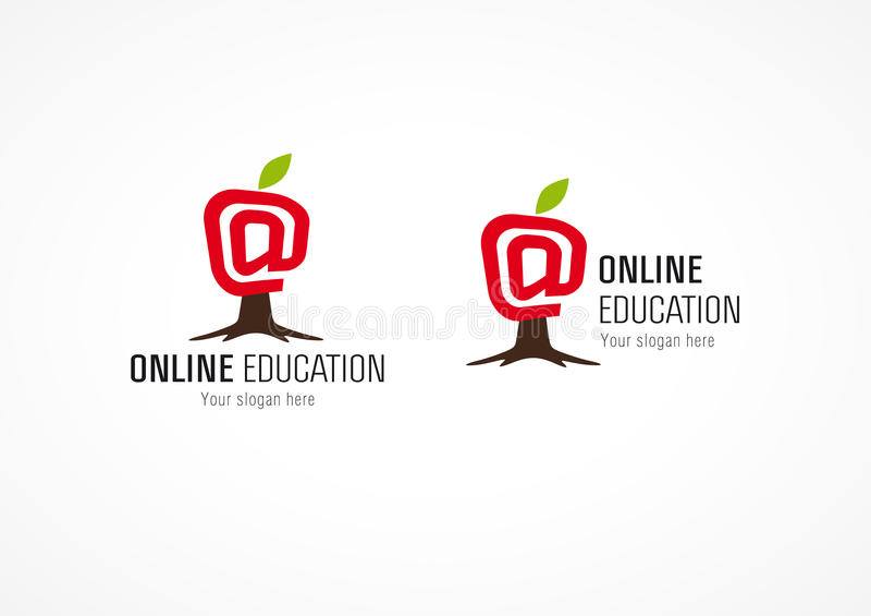 Online-äpple för utbildningslogoträd vektor illustrationer
