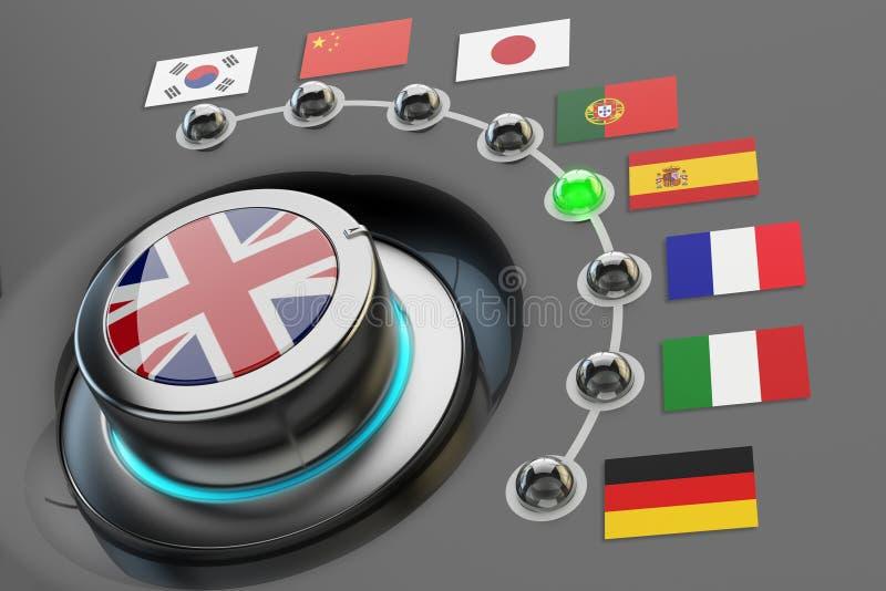Online-översättarebegrepp royaltyfri illustrationer