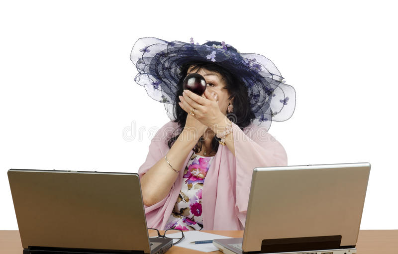Download Online Acting Studio Owner Applying Powder On Her Face Stock Photo - Image: 42422382