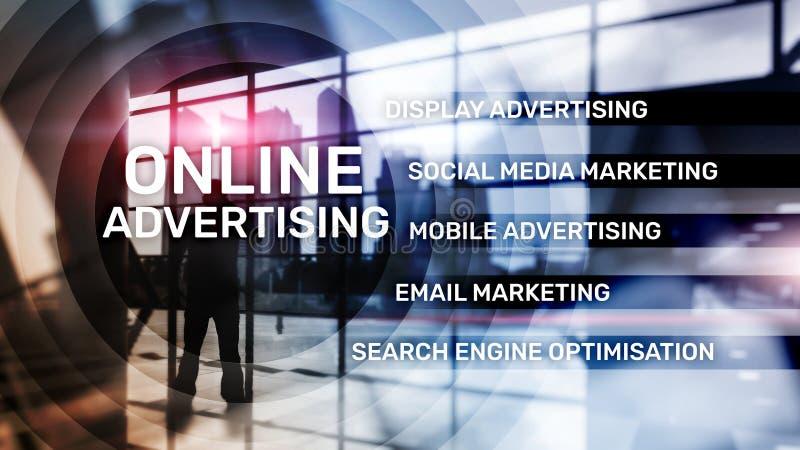 Online adverterend, Digitale marketing Bedrijfs en financiënconcept op het virtuele scherm stock afbeeldingen