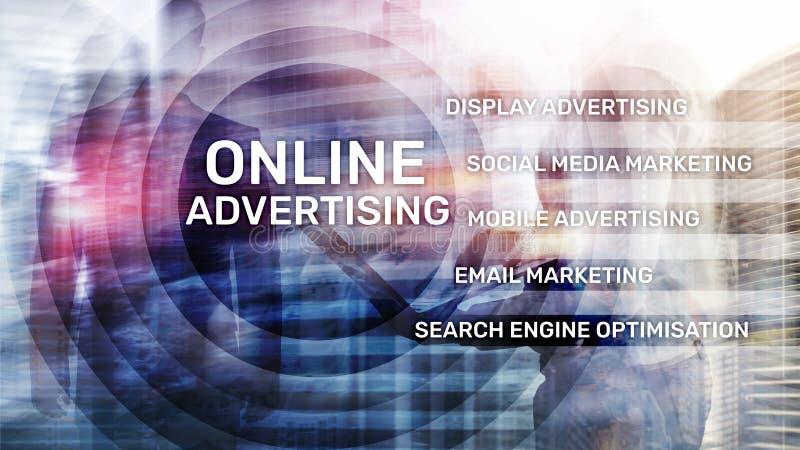 Online adverterend, Digitale marketing Bedrijfs en financiënconcept op het virtuele scherm royalty-vrije illustratie