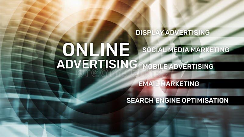 Online adverterend, Digitale marketing Bedrijfs en financi?nconcept op het virtuele scherm stock illustratie