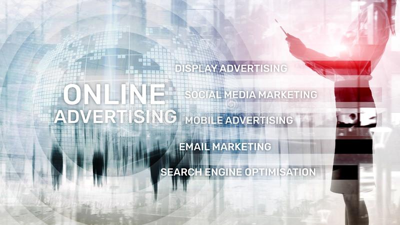 Online adverterend, Digitale marketing Bedrijfs en financi?nconcept op het virtuele scherm vector illustratie