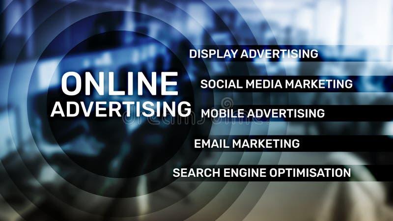 Online adverterend, Digitale marketing Bedrijfs en financi?nconcept op het virtuele scherm royalty-vrije illustratie
