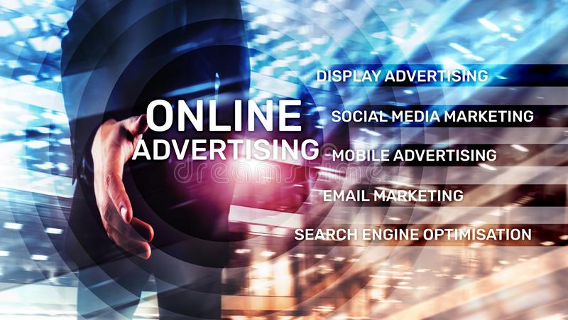 Online advertising, Digital marketing. Business and finance concept on virtual screen vector illustration