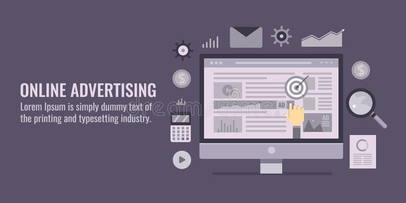 Online advertising - internet marketing - search engine optimization -social media, website marketing concept. Flat design banner. Online advertising, internet vector illustration