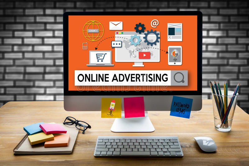ONLINE ADVERTISING man working on laptop , Online Advertising We. Bsite Marketing , Update Trends Report News Online Advertising , Online Marketing Business stock image
