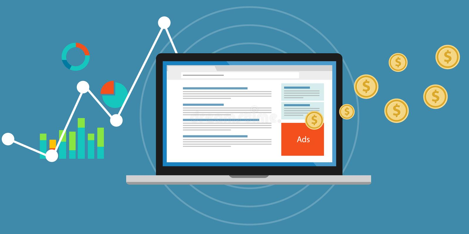 Online advertising pay per click clickjacking royalty free illustration