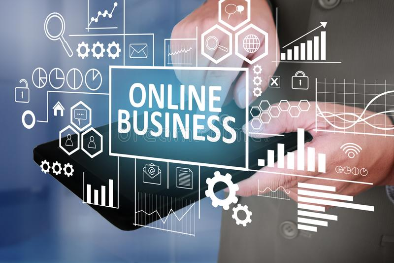 Online-affär i affärsidé royaltyfri fotografi