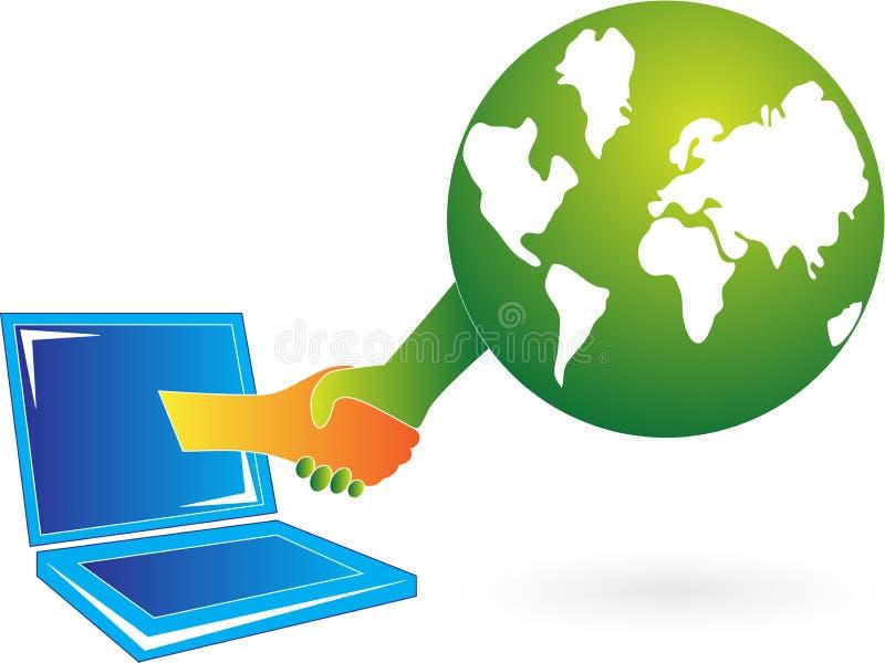 Online-affärsavtal vektor illustrationer