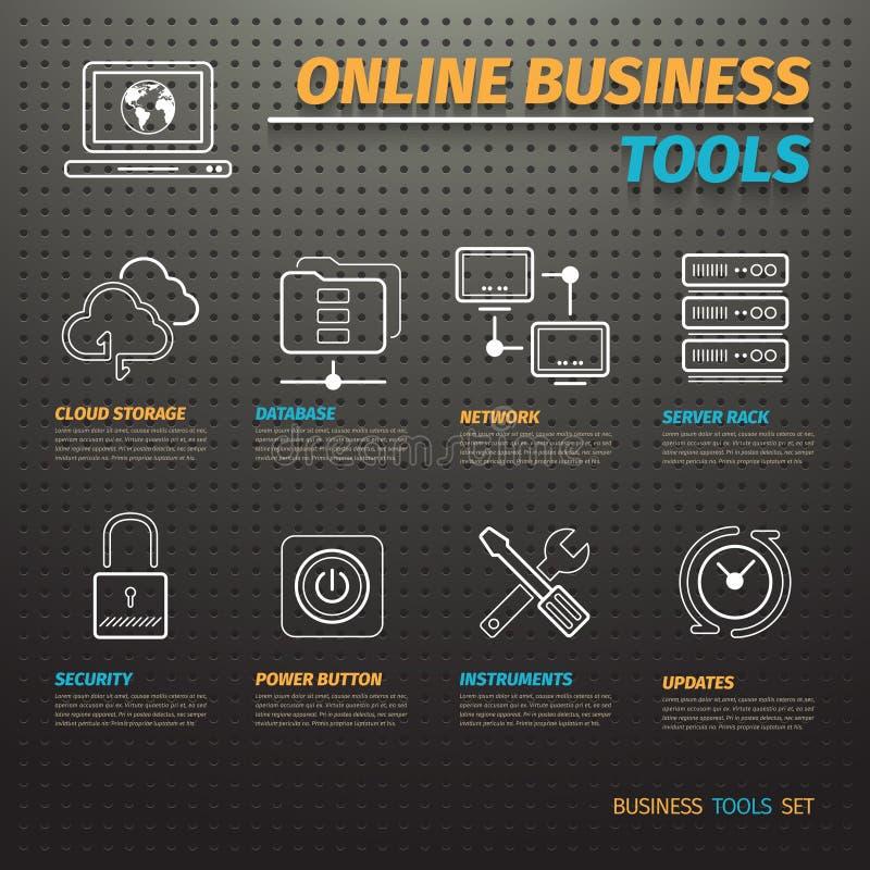 Online-affärshjälpmedel på mörka Pegboard stock illustrationer
