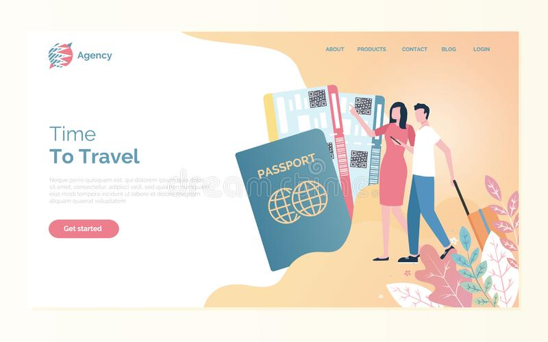 Online Agency, Time to Travel, Passport Vector. Time to travel of man and woman going with bag, passport and fly tickets. Webpage with people going on journey royalty free illustration