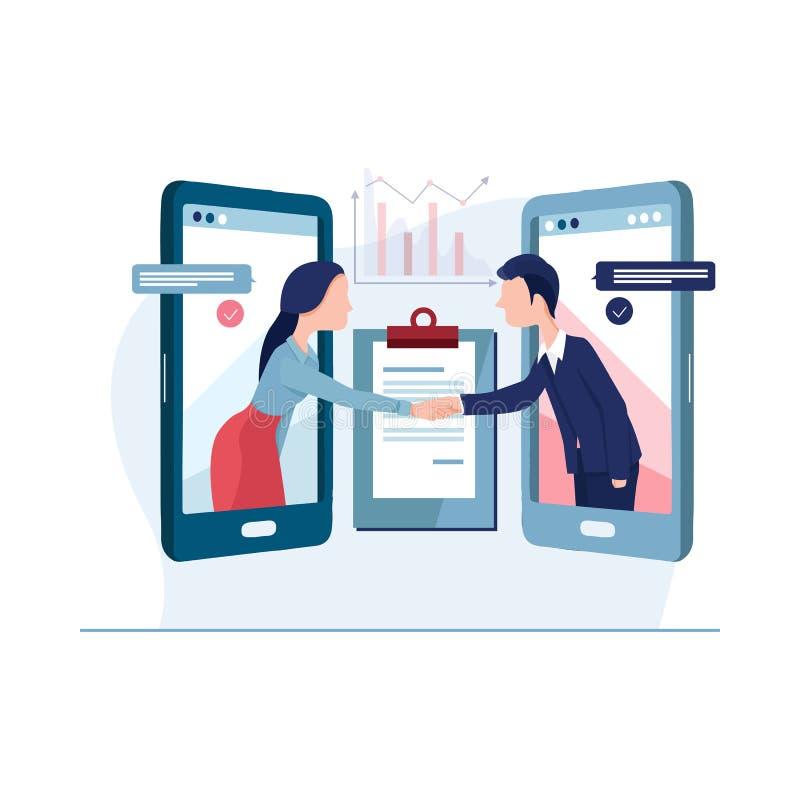 Online Agreement flat design concept. stock image