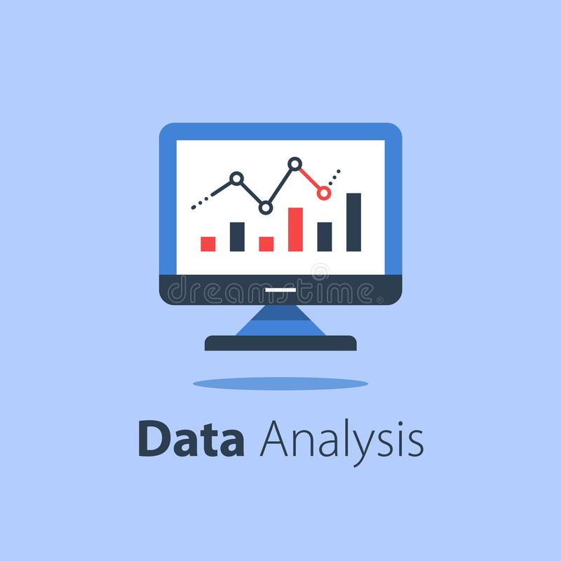 Online analytics, computer monitor and diagram, web statistic, internet big data. Website usage report, vector flat illustration stock illustration
