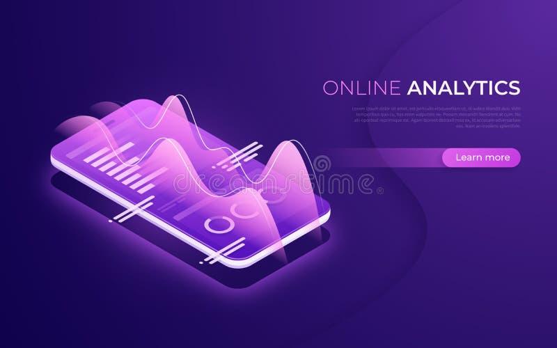 Online analytics, gegevensanalyse, financieel prestaties isometrisch concept vector illustratie